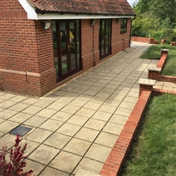 Patio area and red brick wall after cleaning, Copdock, Ipswich, Sufffolk