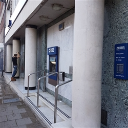 Cleaning the frontage of the RBS building, Queen Street, Ipswich, Suffolk