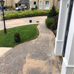 Following the pressure washing and clearing of all joints sand is applied to path and driveway